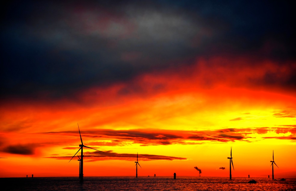 Windturbines at Sea Red Sky|Health and Safety North Wales|www.spsafteysewrvices